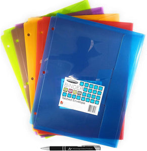 ACCO Binder 3-Hole Tabbed Envelopes, Letter Size, Variety of Colors (W61062)