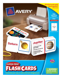 "Avery Custom Print Flash Cards, 56 Cards, 3"" x 5"", 14 Sheets (4782)"