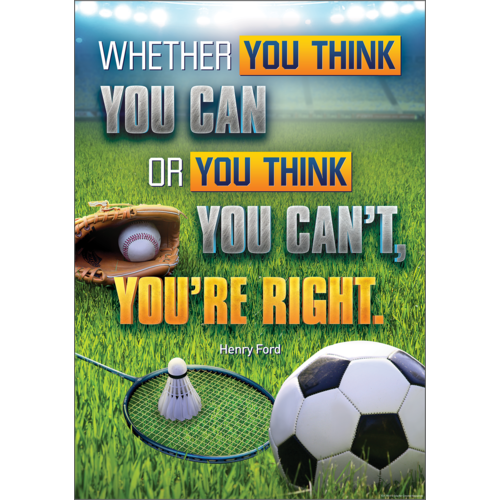Teacher Created Resources Whether You Think You Can or You Think You Can't, You're Right Positive Poster (7954)