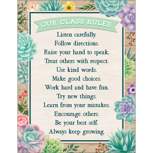 Teacher Created Rustic Bloom Our Class Rules Chart (TCR7974)