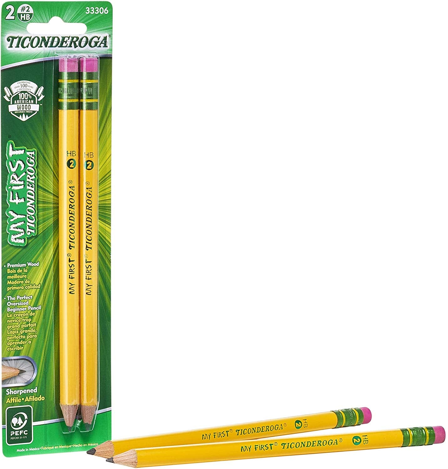 My First Ticonderoga #2 Beginner Pencils, 2 Pack (33306)