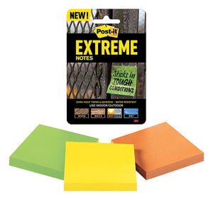 "Post It Extreme Notes, 3"" x 3"", Sticks in Tough Conditions, Orange, Green, Yellow"