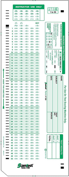 Scan-Test Scantron 882 E Compatible Test Form