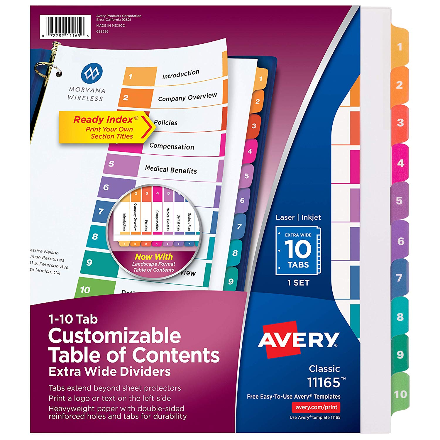 Avery Numbered 1-10 Tab Customizable Table of Contents Extra Wide Dividers (11165)