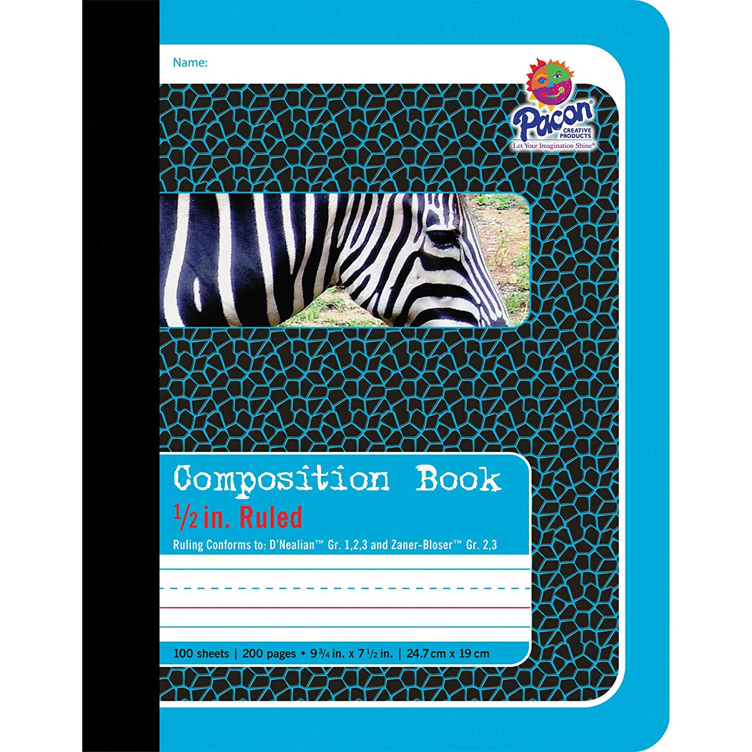Pacon Primary Composition Book, 1/2-in. Ruled, 100 Sheets, Blue (2425)