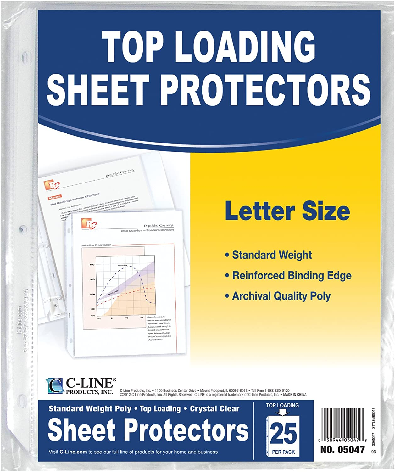C-Line Top Loading Standard Weight Poly Sheet Protectors, Clear, 8.5 x 11, 25 Pack (05047)