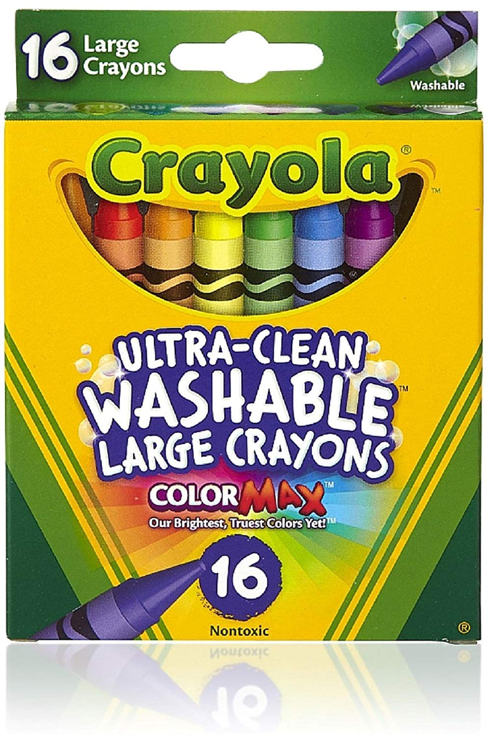 Crayola Large Washable Crayons, Assorted Colors, 16 Count