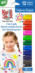 The Pencil Grip Kwik Stix Fabric Paint Sticks, Set of 12 Colors, (TPG-631)