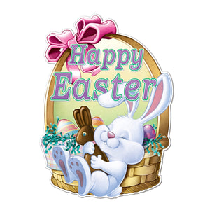 "Beistle Large 24"" Happy Easter Bunny w/ a Basket Double-Sided Cut-Out, (44989)"