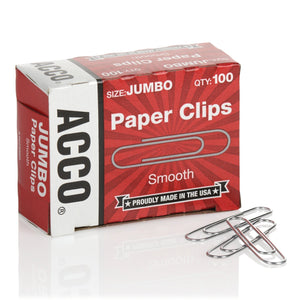ACCO Jumbo Smooth Paper Clips, Qty - 100 (72580)