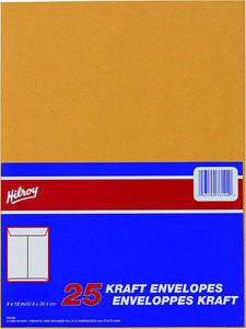 Hilroy 25 Kraft Envelopes, 9 in by 12 in (74144)