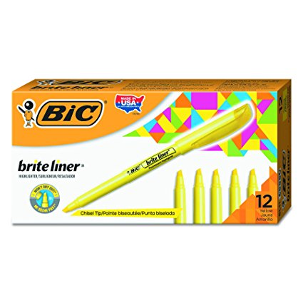 BIC Yellow Highlighters, 12 Pack