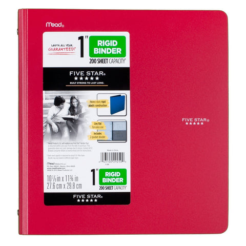 "Five Star® 1"" Rigid Poly Binder (29250)"