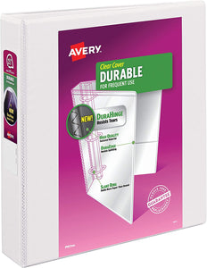 "Avery  1.5"" Durable View Binder, White (17022)"
