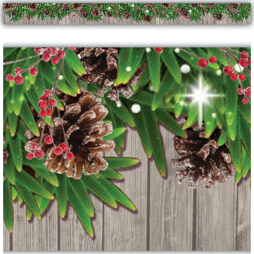 Teacher Created Resources Winter Pine Cones Straight Border Trim (8456)