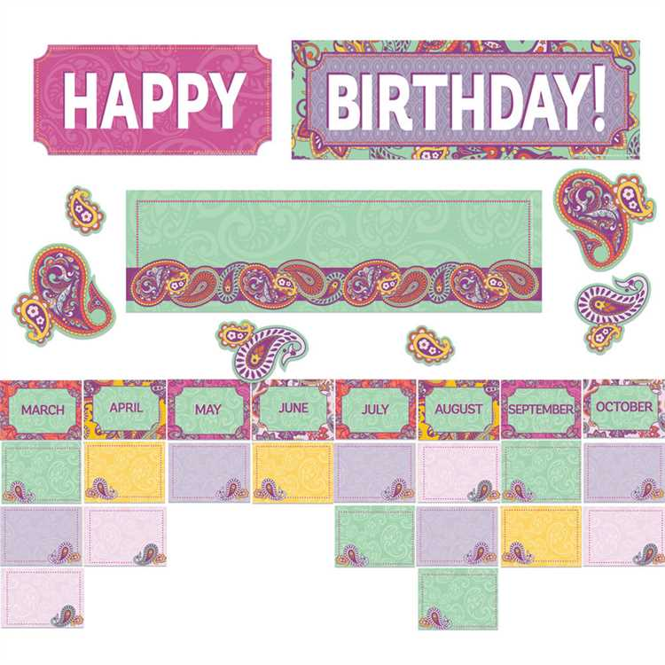 Eureka Positive Paisley Birthday Mini Bulletin Board Set (847782)