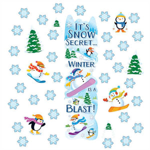 Eureka Winter Door Cover Foil Decor Kit, 33 Pcs, Banner, Cut Outs (849301)