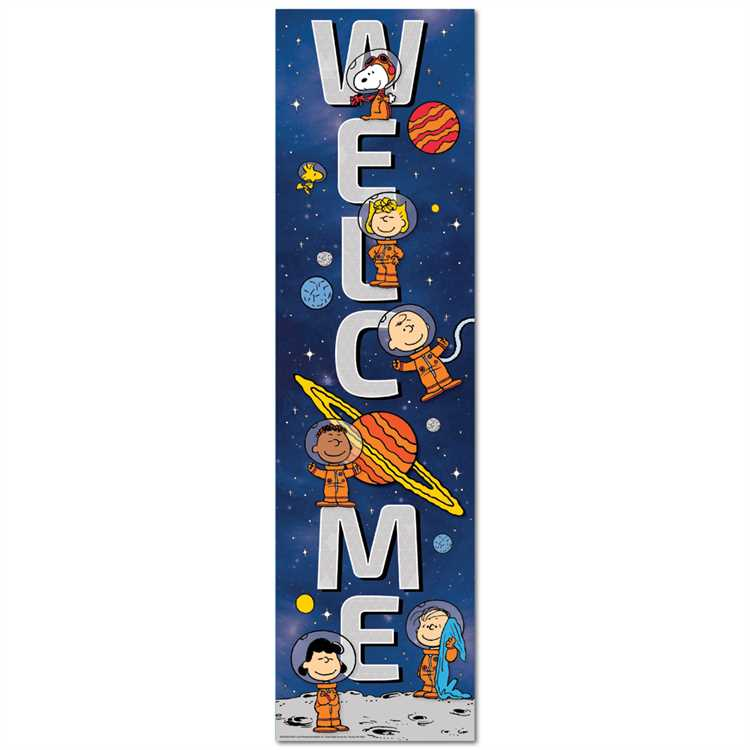 Eureka Peanuts® NASA 4' Welcome Vertical Banner, Snoopy Space (849326)