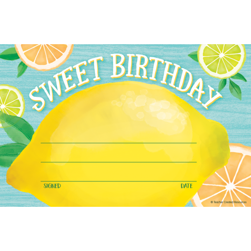 Teacher Created Lemon Zest Sweet Birthday Awards (TCR 8494)