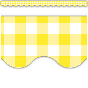 Teacher Created Resources Yellow Gingham Scalloped Border Trim (8500)
