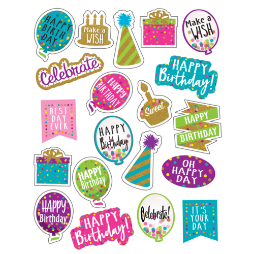 Teacher Created Resources Confetti Happy Birthday Stickers (TCR8585)