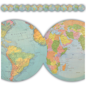 Teacher Created Travel the Map Globes Die-Cut Border Trim (TCR 8640)