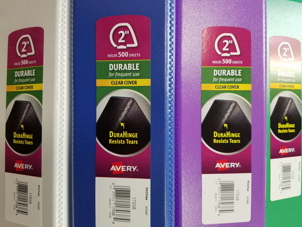 "Avery Durable View Binder 2"", Assorted Colors (17038)"