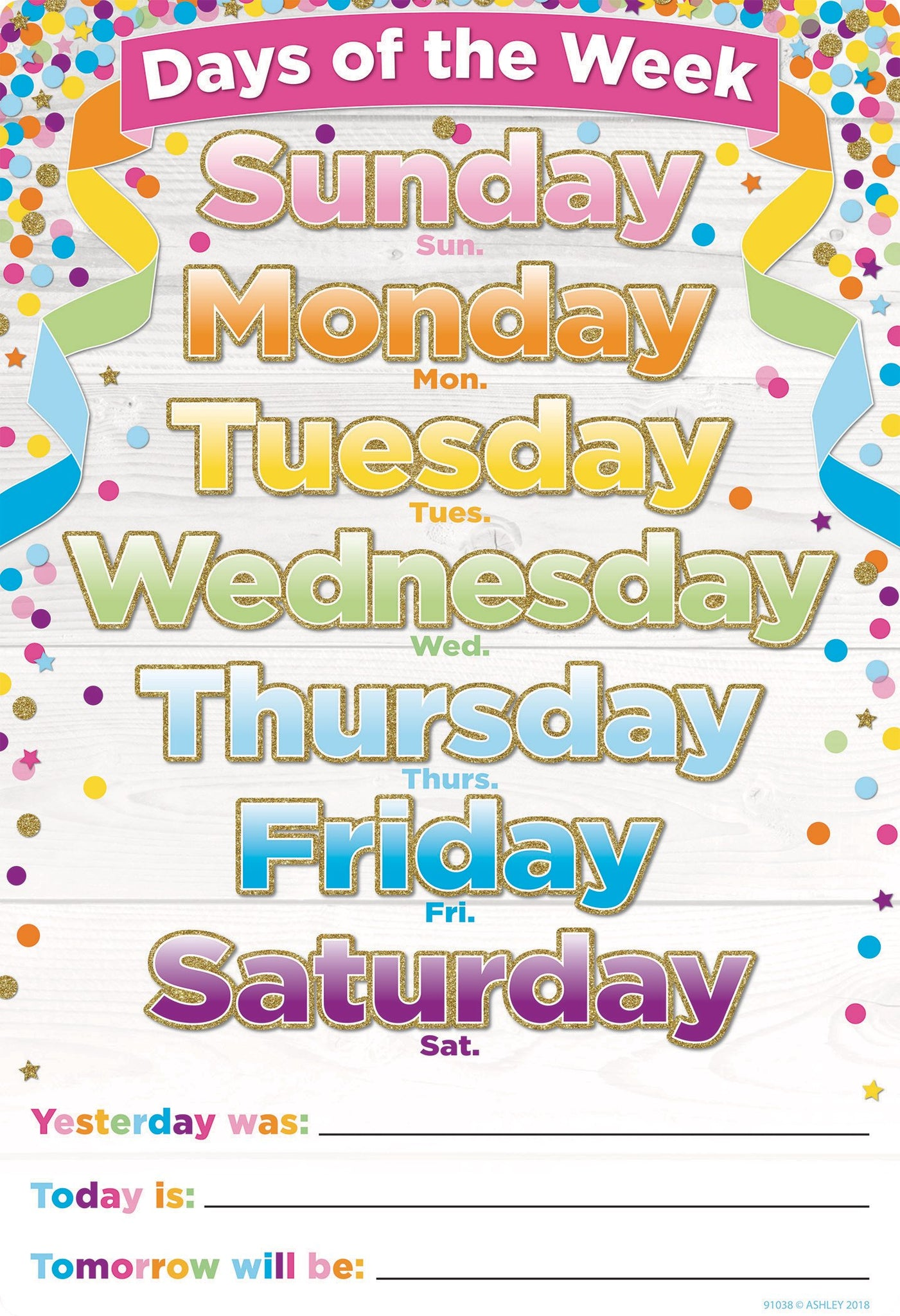 "Ashley Productions® Smart Poly® Days of the Week Confetti Chart, 13"" X 19"" (ASH91038)"