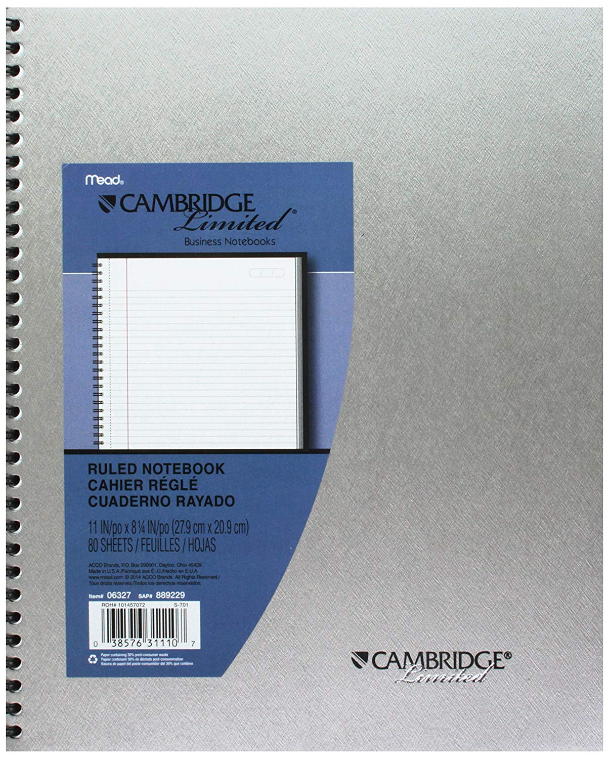 "Mead Cambridge Limited Business Metallic Notebook, 11"" x 8 1/4"" (31110)"