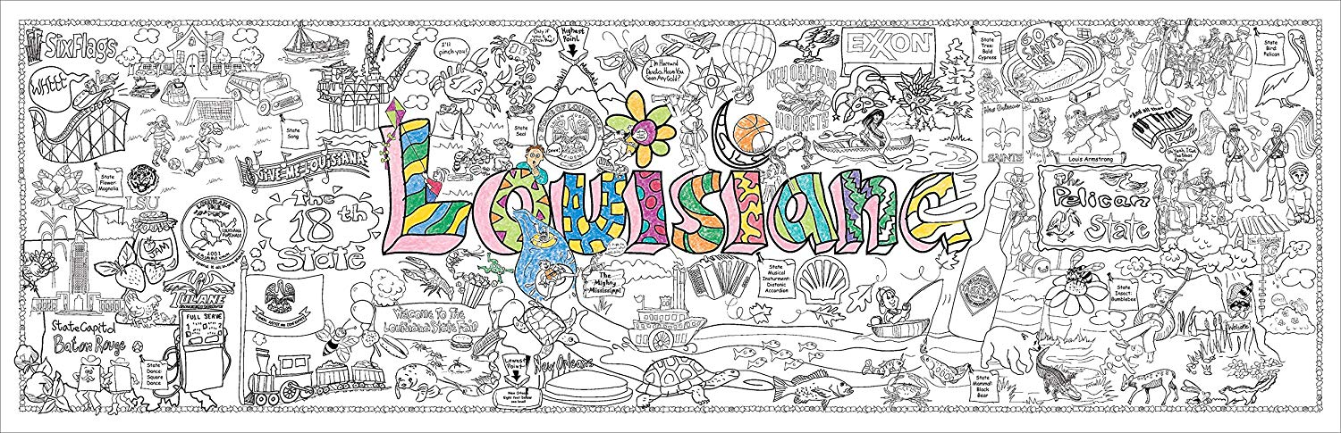 "Louisiana Giant Coloring Poster Mural, 62"" x 22"""