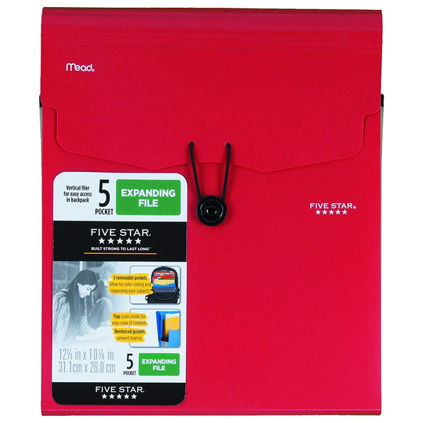 Five Star 6 Pocket Vertical Expanding File, Assorted Colors (35245)
