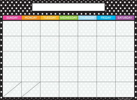 "Ashley Smart Poly Dry Erase Black and White Dots Calendar Chart, 13"" x 9.5"" (95332)"