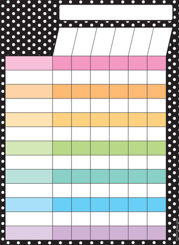 "Ashley Smart Poly Dry Erase Black and White Dots Incentive Chart, 13"" x 9.5"" (95333)"