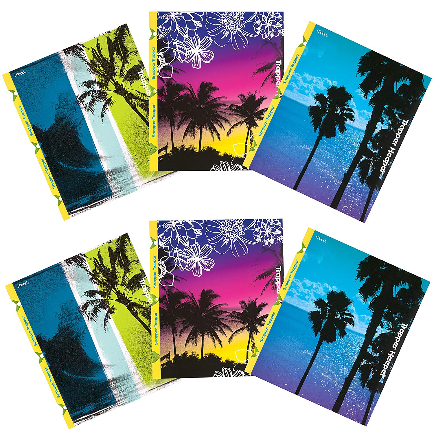 Mead Trapper Keeper Snapper Trapper 2-Pocket Folders, Fun in the Sun, Assorted Designs, 6 Pack (73431)