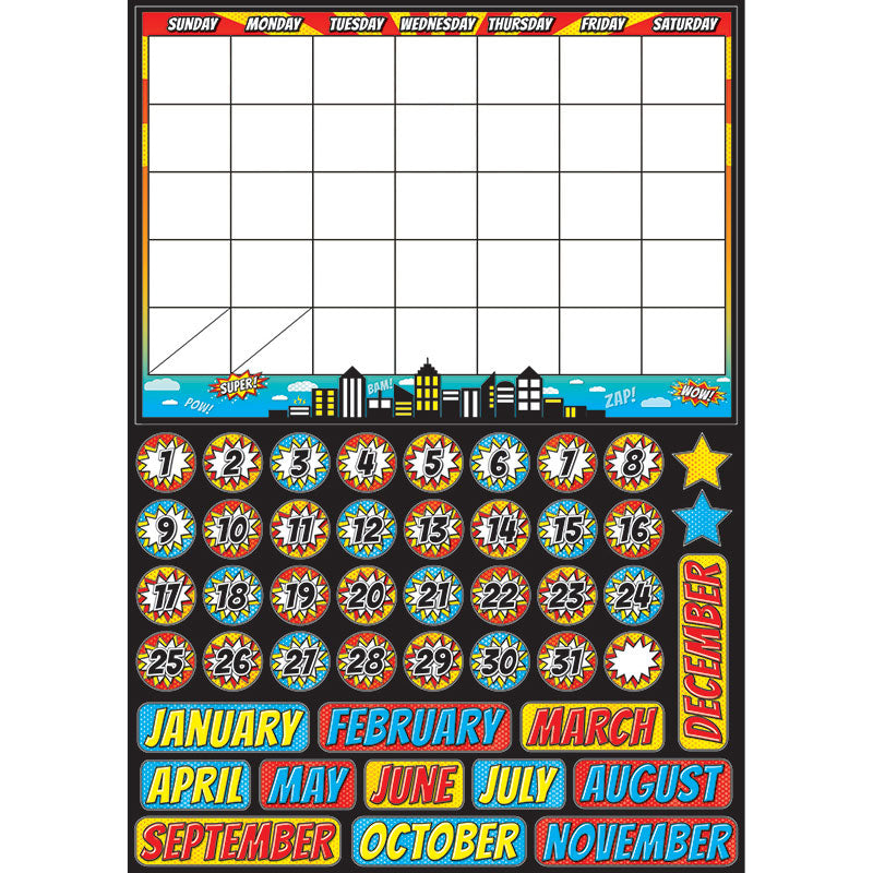 Superhero Calendar Magnetic Mini Bulletin Board Set