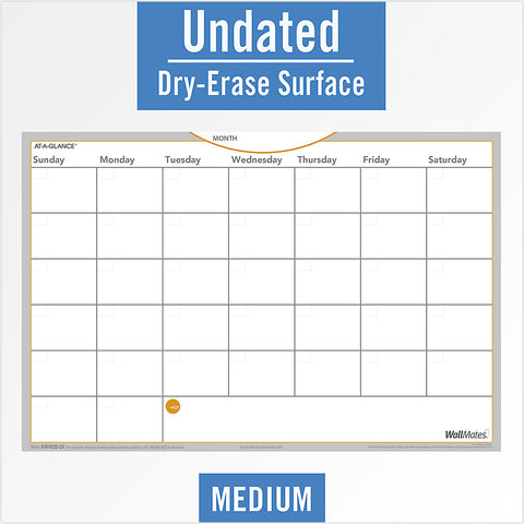 "At-A-Glance WallMates Undated Dry Erase Monthly Planning Calendar 18"" x 12"" AW402028"