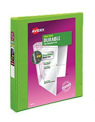 "Avery® Durable View Binder, 1"" Slant Rings, 220-Sheet Capacity, DuraHinge™, Green (17832)"