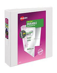 "Avery® Durable View Binder, 2"" Slant Rings, 500-Sheet Capacity, DuraHinge™, White (17032)"