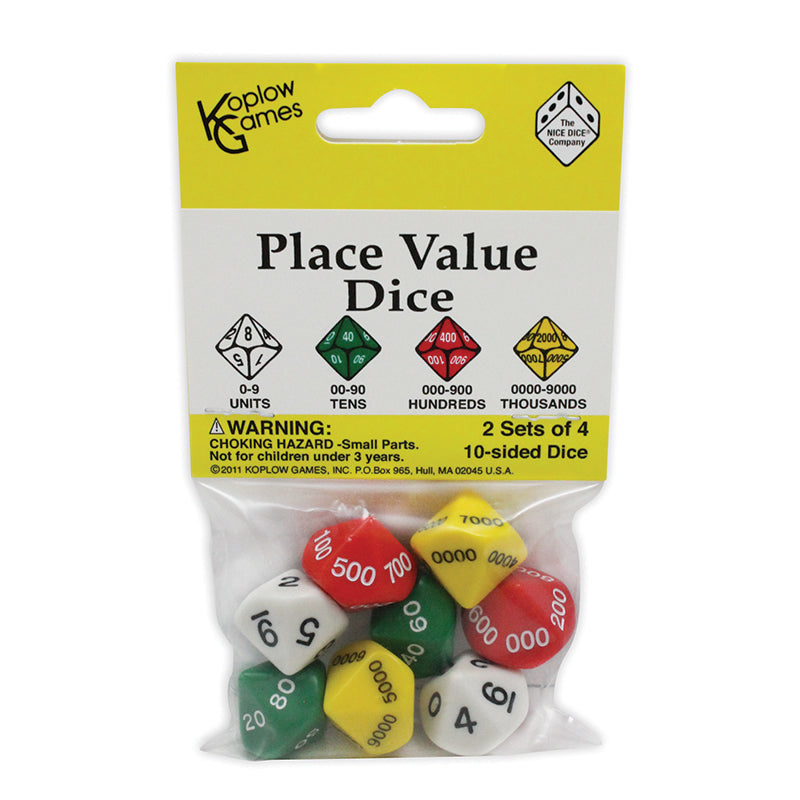 Koplow Place Value Dice Game, 2 Sets of 4, 10 Sided (11871)