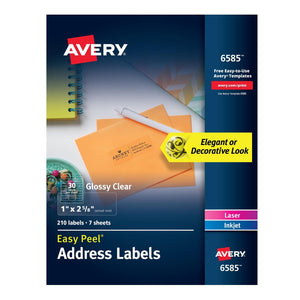 "Avery Easy Peel Glossy Clear Address Labels 1"" x 2-5/8"", 210 Labels #6585"