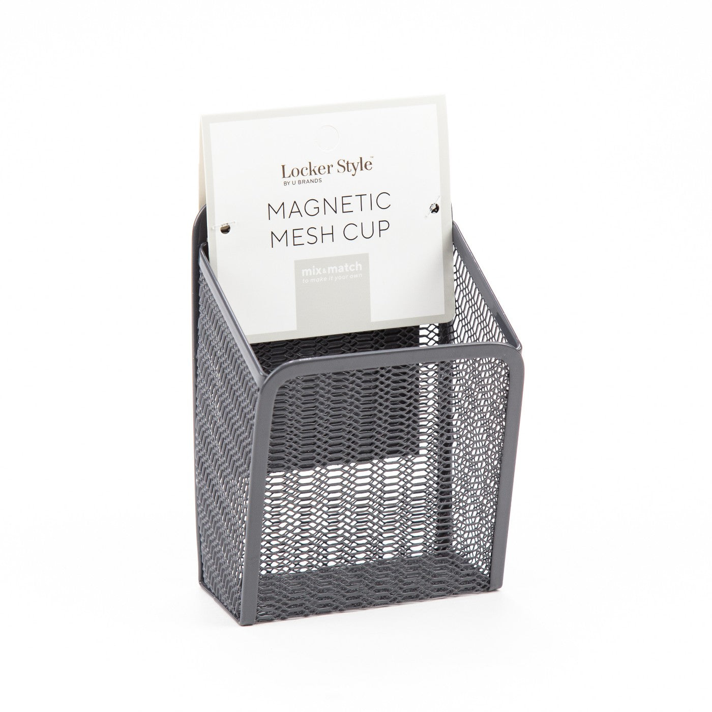 Locker Style Magnetic Mesh Pencil Cup, Gray