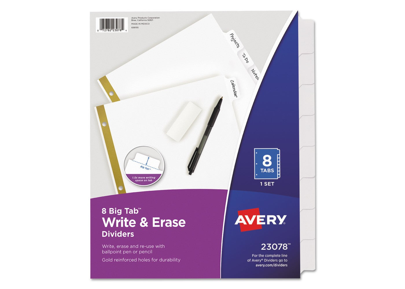 Avery Write & Erase Dividers, 8-Tab Set, 1 Set (23078)