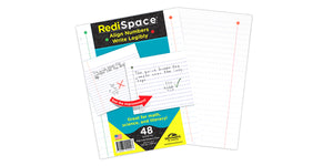 RediSpace Wide Ruled Notebook Filler Paper, Line Spaced for Letters, 48 Sheets