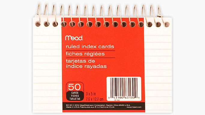Mead® 3X5 Wirebound Ruled Index Cards 50ct (63130)