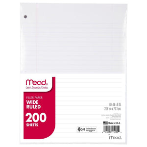 Mead® Loose Leaf Filler Paper 200 ct WR (15200) Wide Ruled