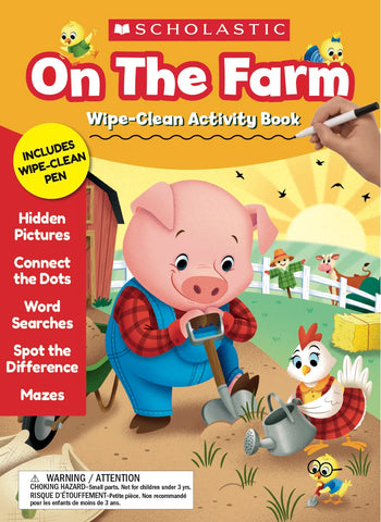 Scholastic ON THE FARM Wipe-Clean Activity Book Workbook