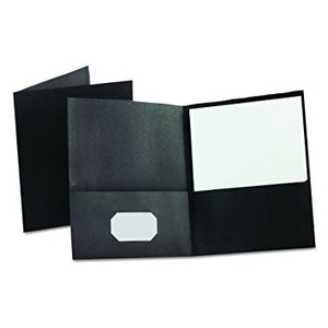 Oxford Twin Pocket Folders, Letter Size, Black, 25 per Box (57506)