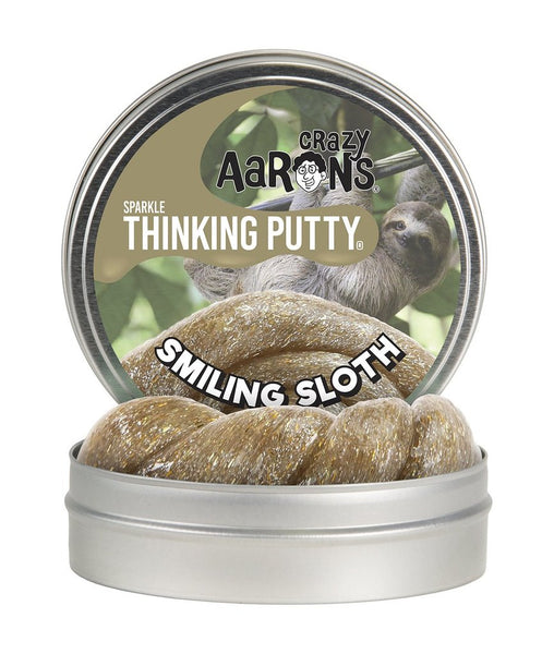 "Crazy Aaron's 4"" Smiling Sloth Thinking Putty Tin, Sparkle, Bounch, Twist, Pop, Stretch"