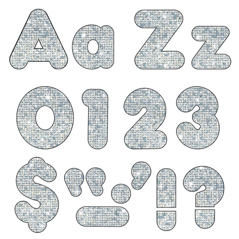 Ready Letters Combo Pack, Silver Sparkle, 4""