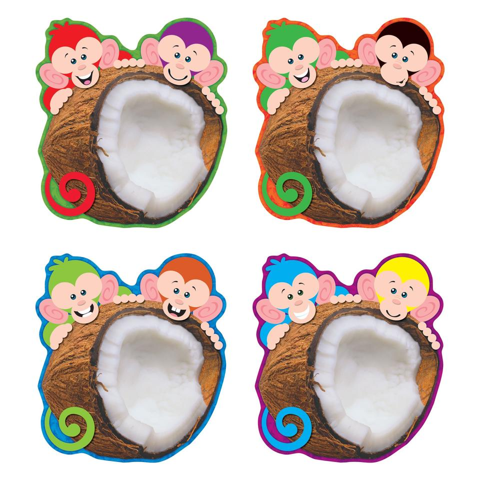 Trend Monkey Mischief Coconut Chums Accents Variety Pack, 36 Pack (T-10992)